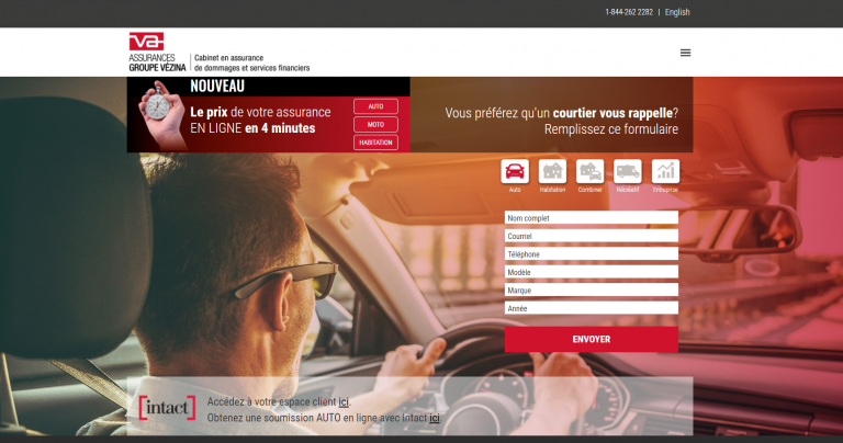 Capture du site web Assurances Groupe Vézina